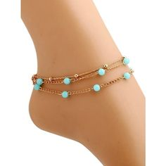 Elegant Bead Layered Anklet ($2.06) ❤ liked on Polyvore featuring jewelry, beaded anklets, bead jewellery, beading jewelry, anklet jewelry and layered jewelry
