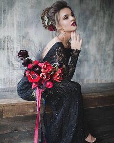 15 Chic Black Wedding Dresses for Bold Brides Making A Wedding Dress, Wedding Dress Trends, Black Wedding Dresses, Wedding Ideas, Wedding Outfits, Wedding Colors, Wedding Stuff, Wedding Inspiration, Halloween Wedding Dresses