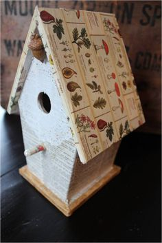 Lavender Nest: Washi tape & doily bird house