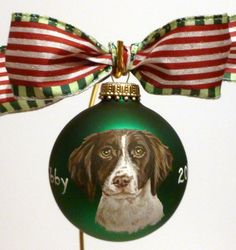 Handpainted by Brassfield Creatives. Cynthia's ornaments and other dog portrait artwork are amazing. They make for great holiday gifts for dog lovers!