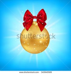 Christmas Tree decoration. Christmas ball with a bow. Vector illustration.