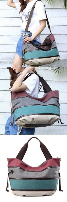 Bagail Women Canvas Multifunction Large Capacity Canvas Patchwork Crossbody Bag Handbag