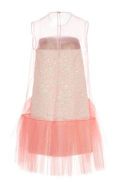 Sleeveless Jacquard And Tulle Short Dress by DELPOZO for Preorder on Moda Operandi