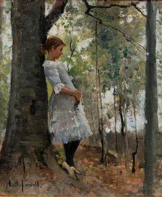 Девушка в березовом лесу, Амели Ландал.  Финский (1850 - 1914)