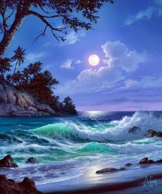 That's how you airbrush, nice job. That's how you airbrush, nice job. Fantasy Landscape, Landscape Art, Landscape Paintings, Watercolor Landscape, Landscape Architecture, Ocean Scenes, Tropical Art, Beautiful Moon, Seascape Paintings
