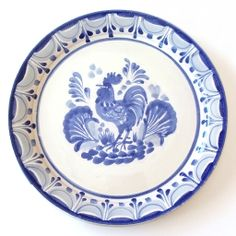 Emilia Ceramics Blue and White Serving Plate with Rooster