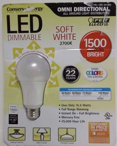 100W LED DIMMABLE FEIT OMNI DIRECTIONAL SOFT WHITE LED BULB 1500 LUMENS B19 #FeitElectric