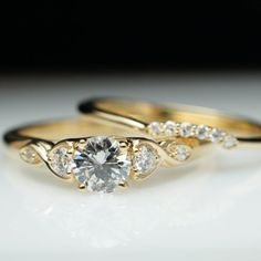 Vintage Antique Style Diamond Engagement Ring & Wedding Band