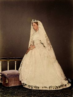 Princess Alice of the United Kingdom in her wedding gown, 1862.