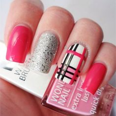 Black, Red and Gold Purple Plaid French Tip Neon Summer Plaid Buffalo Check Nails TARTAN on Your Toes Burberry Nails Plaid Nails in Pink and Black Pink Nail Art, New Nail Art, Pink Nails, Get Nails, Fancy Nails, Pretty Nails, Plaid Nail Art, Plaid Nails, Burberry Nails