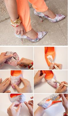 Top 10 Unique DIY Heels Ideas - Top Inspired : I am a shoe addict and I am IN LOVE with this idea. Hang on while I cut up some old clothes and grab the fabric glue! Shoe Makeover, Flipflops, Diy Accessoires, Diy Kleidung, Do It Yourself Fashion, Old Shoes, Gorgeous Heels, Diy Fashion, Fashion Tips