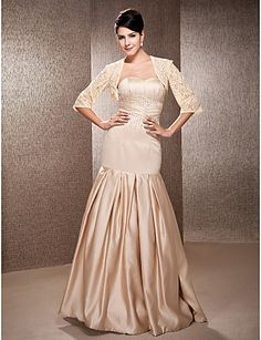 Trumpet/fishtail Sweetheart Dropped Floor-length 3/4 Length Sleeve Zipper Satin Illusion Hall Wedding Dress #169938(More color option)