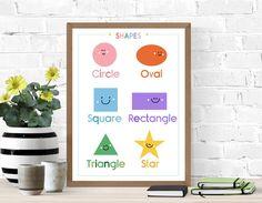 Fun educational printable of shapes, great for a nursery or playroom decor. Printable Shapes, Printable Wall Art, Chinese Alphabet, Playroom Art, Shape Posters, Montessori, Nursery Decor, Art For Kids, Printables