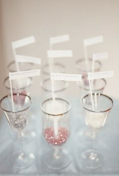 champagne flutes filled with glitter that have the guests name and table number displayed. Christmas Wedding, Fall Wedding, Our Wedding, Dream Wedding, Wedding Gold, Christmas Stuff, Wedding Things, Decoration Inspiration, Wedding Inspiration