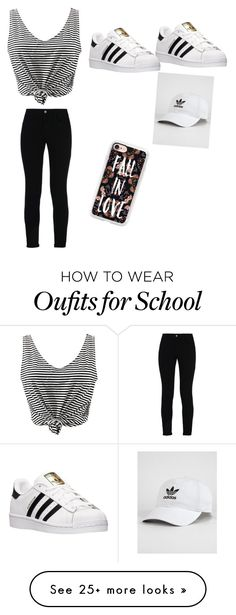 """""""Basic school day"""" by piano1825 on Polyvore featuring STELLA McCARTNEY, adidas, WithChic and Casetify"""