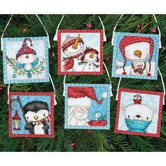 Make adorable ornaments with this Frosty Friends Ornaments Counted Cross Stitch Kit.