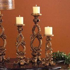tuscan countryside candlestick set