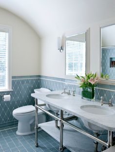 37 navy blue bathroom floor tiles ideas and pictures 2019 Traditional Bathroom, Bathroom Interior Design, Interior, Classic Bathroom, Tile Layout, Tile Design, Duck Egg Blue Bathroom Tiles, Blue Bathroom Tile, Beautiful Bathrooms