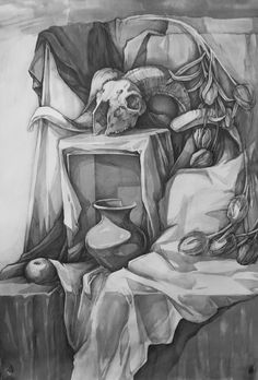 skull with tulips by arkkmelai on DeviantArt Still Life Sketch, Still Life Drawing, Art Sketches, Art Drawings, Drawing Art, Pencil Drawings Of Nature, Object Drawing, Pencil Painting, Drawing Lessons