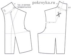 Russian site with illustrations for drafting various types of cut on collars and neckilines such as this standing collar pattern