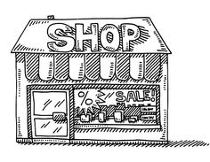 Shop Building Display Window Sale Drawing