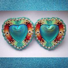Big hearts $35+shipping. #beadwork #beadedearrings