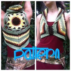 PATTERN: Sunflower Mandala Crochet Vest от EarthTricks на Etsy