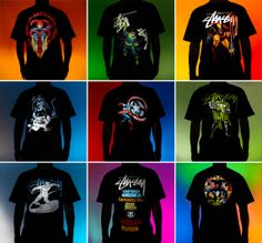 STUSSY X MARVEL COMICS GHOST RIDER DOCTOR OCTOPUS WOLVERINE THE PUNISHER CAPTAIN AMERICA DOCTOR DOOM SILVER SURFER