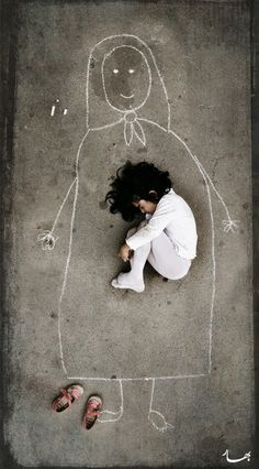 A motherless child wishing on her tears