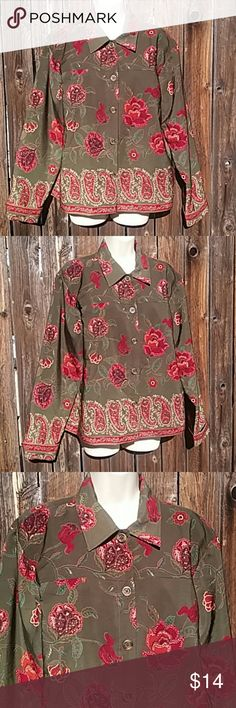 """Coldwater Creek light jacket sz L lined Light dress jacket in excellent condition Shades of burgundy and browns on a dark sage green background Bust 46"""", long 25"""" Coldwater Creek Jackets & Coats Blazers"""