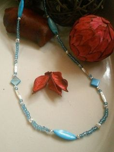 """33"""" BLUE MOTHER OF PEARL & SILVER COLOURED NECKLACE £12.00 http://folksy.com/items/4924612-33-BLUE-MOTHER-OF-PEARL-SILVER-COLOURED-NECKLACE"""