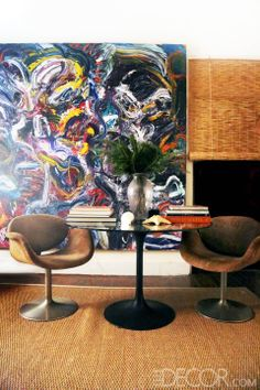 Painting Bibhu Mohapatra and Tulip Chairs Pierre Paulin