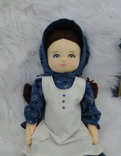 Soft Sculpture Rag Doll, Pioneer Dress Doll, Old Fashioned Cloth Doll, Jointed Doll with Yarn Hair, Dark Haired Doll with Braids, OOAK doll Pioneer Dress, Rag Dolls, Soft Sculpture, Doll Clothes, Braids, Fashion Outfits, Dark, Handmade, Dresses