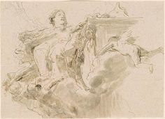Giovanni Battista Tiepolo | A Seated Female Figure Beside an Altar Raised on Clouds; Putti in Flight to Right and Left | Drawings Online | The Morgan Library & Museum