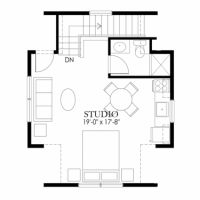 Floor Plans AFLFPW75838   2 Story Craftsman Home With 1 Bedroom, 1 Bathroom  And 482