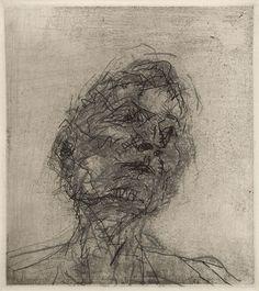 Frank Auerbach - Portrait of Lucian Freud, 1980 Gesture Drawing, Life Drawing, Figure Drawing, Drawing Sketches, Painting & Drawing, Art Drawings, Painting Prints, Frank Auerbach, Lucian Freud