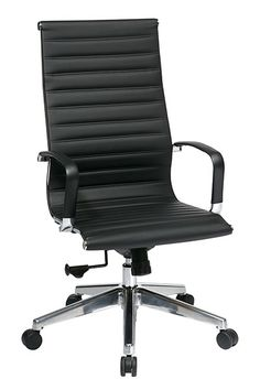 OSP 74603LT High Back Eames Style Leather Chair in Black | Dynamic Office Services