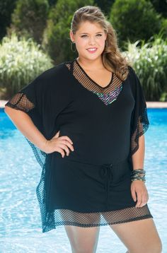 5626077d88 Take on the beach in this sexy and comfortable plus size swimsuit cover up  from Always