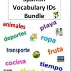 Spanish Vocabulary ID Bundle - Picture IDs with answer keys for 32 different topics totaling 780 words - 40 separate worksheets, 82 pages total!