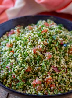 Tabouli Salad made with bulgur, tomatoes, mint, lemon and olive oil with lots and lots of fresh parsley. This is the perfect easy side dish for your favorite middle eastern cooking for just 3 smart points per serving. Couscous Recipes, Couscous Salad, Veggie Recipes, Salad Recipes, Vegetarian Recipes, Cooking Recipes, Healthy Recipes, Parsley Recipes, Parsley Salad