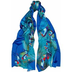 Jennifer Rothwell - Hummingbird Print Silk Scarf (11,930 INR) ❤ liked on Polyvore featuring tops, mixed print top, print top, long tops, blue print top and blue top