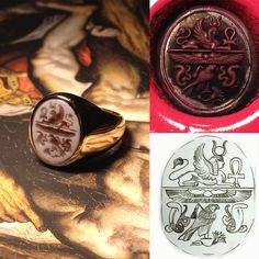 Signet ring and a beatiful story. 18K Yellow Gold, Multi strand Carnelian Engraving hand made