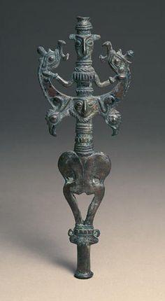 Pole Top: Gilgamesh with Two Animals Date: 800-600 B.C. Iran - Luristan