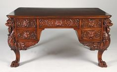 226: 19th C Mahogany Partner's Desk Carved Lions : Lot 0226