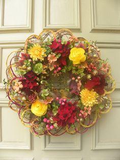 Fall - Christmas Floral Twig Door Wreath Arrangement- Holiday - Decoration #DesignedbyJanfromBerdiesBloomers