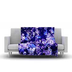 "Ebi Emporium ""Floral Fantasy"" Purple Fleece Throw Blanket from KESS InHouse"