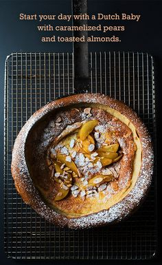 Make a Dutch pancake with caramelized pears and toasted almonds.
