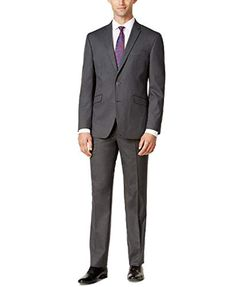 Image 1 of Kenneth Cole Reaction Men's Techni-Cole Slim-Fit Medium-Gray Tonal Suit Grey Suit Men, Mens Suits, Slim Fit Suits, Photo Today, Tuxedo For Men, Line Jackets, Slim Man, Mens Clothing Styles, Fashion Outfits