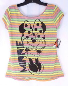 Disney Adult Striped Minnie Mouse Print Short Sleeve T-Shirt Size Small 3/5 #Disney #GraphicTee