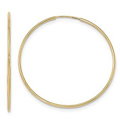 Roy Rose Jewelry 10K Yellow Gold Polished Endless Tube Hoop Earrings 12mm wide size 45mm *** Be sure to check out this awesome product.(This is an Amazon affiliate link)